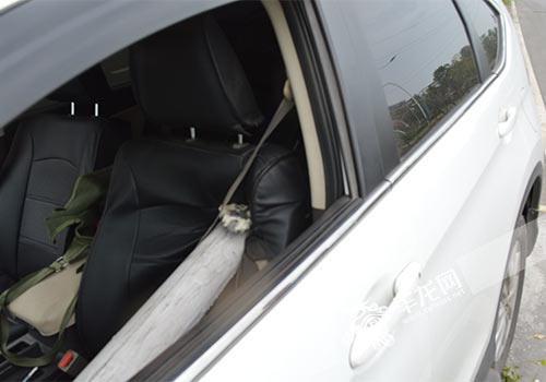 这时,路边一根倾倒的电线杆就从左前轮上方插入了驾驶室,幸好李先生