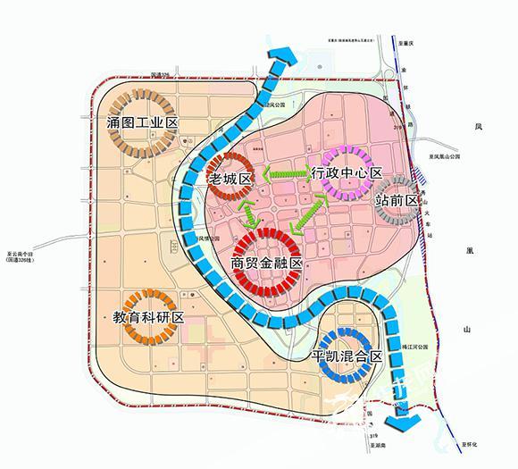 土家族苗族自治县城市总体规划(2004-2020)》版秀山县县城功能分区图.