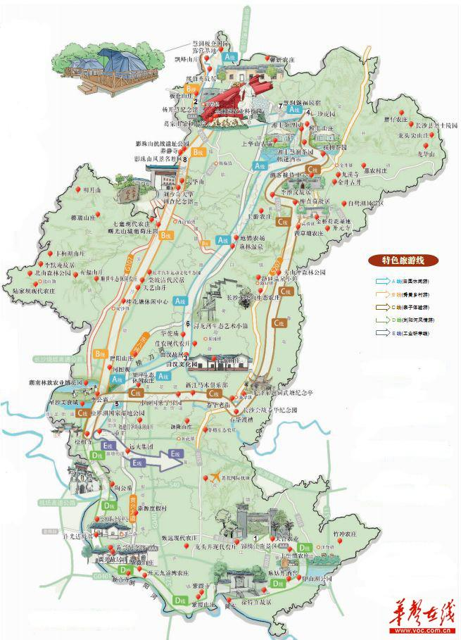 长沙县旅游地图
