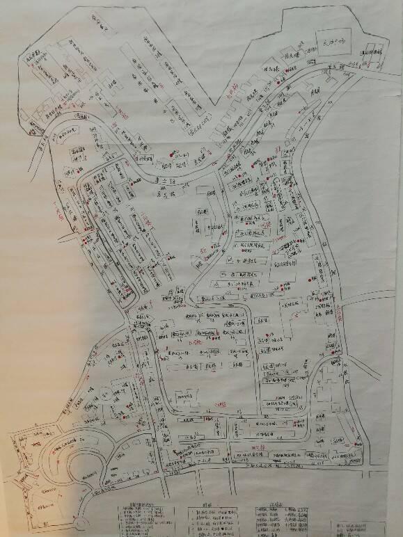 绘制完的地图标记有辖区街路巷的路线分布20余条,辖区学校,重点单位