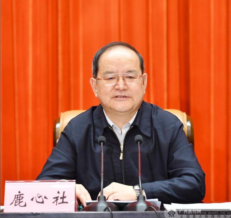 广西召开传达贯彻全国两会精神大会 鹿心社主持并讲话