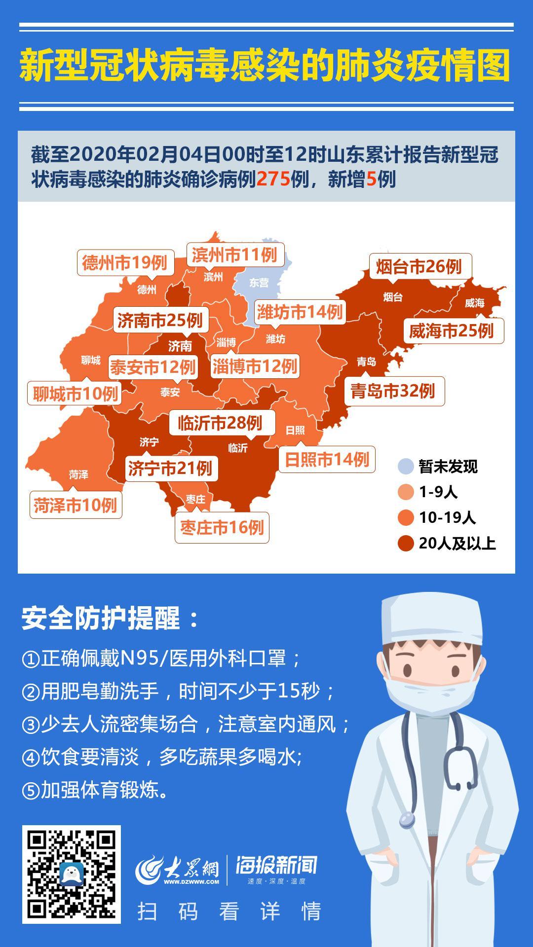 2020年2月4日0时至12时山东省新型冠状病毒感染的肺炎疫情情况图片